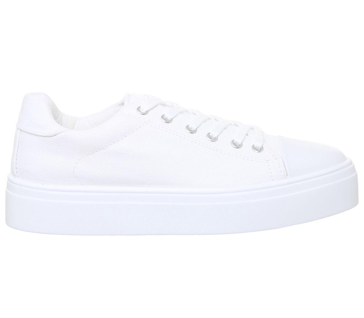 7f00674e Detalles de Mujer Office Feast Zapatillas de Lona con Cordones Blanco Pisos  de Lona