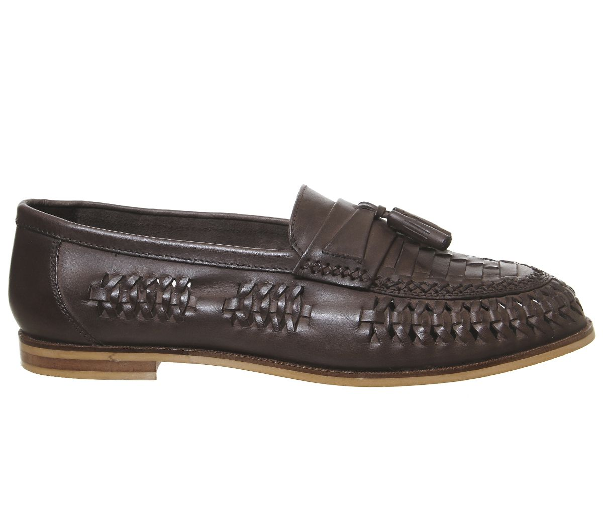 Mens Office Lewisham Woven Tassel Loafers Tan Washed Leather Casual Shoes