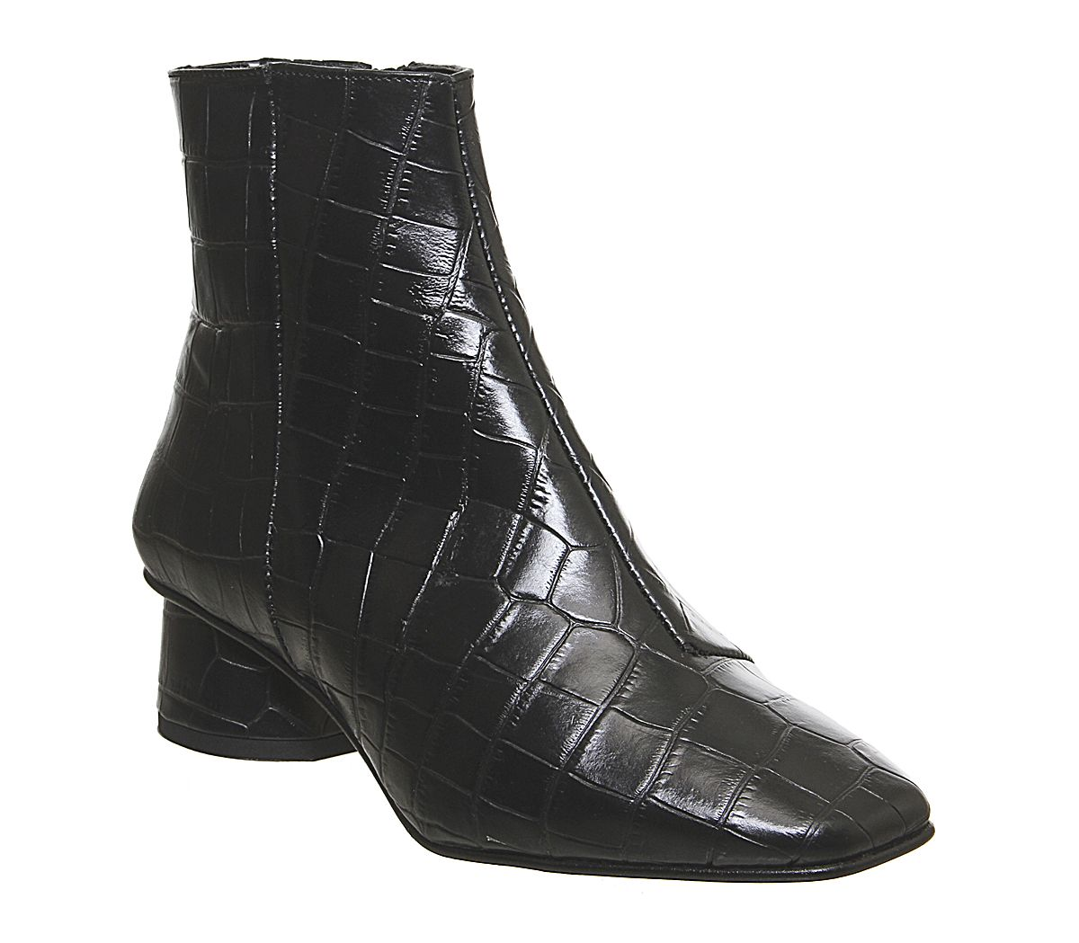 Office Almond Low Block Heel Boots Off