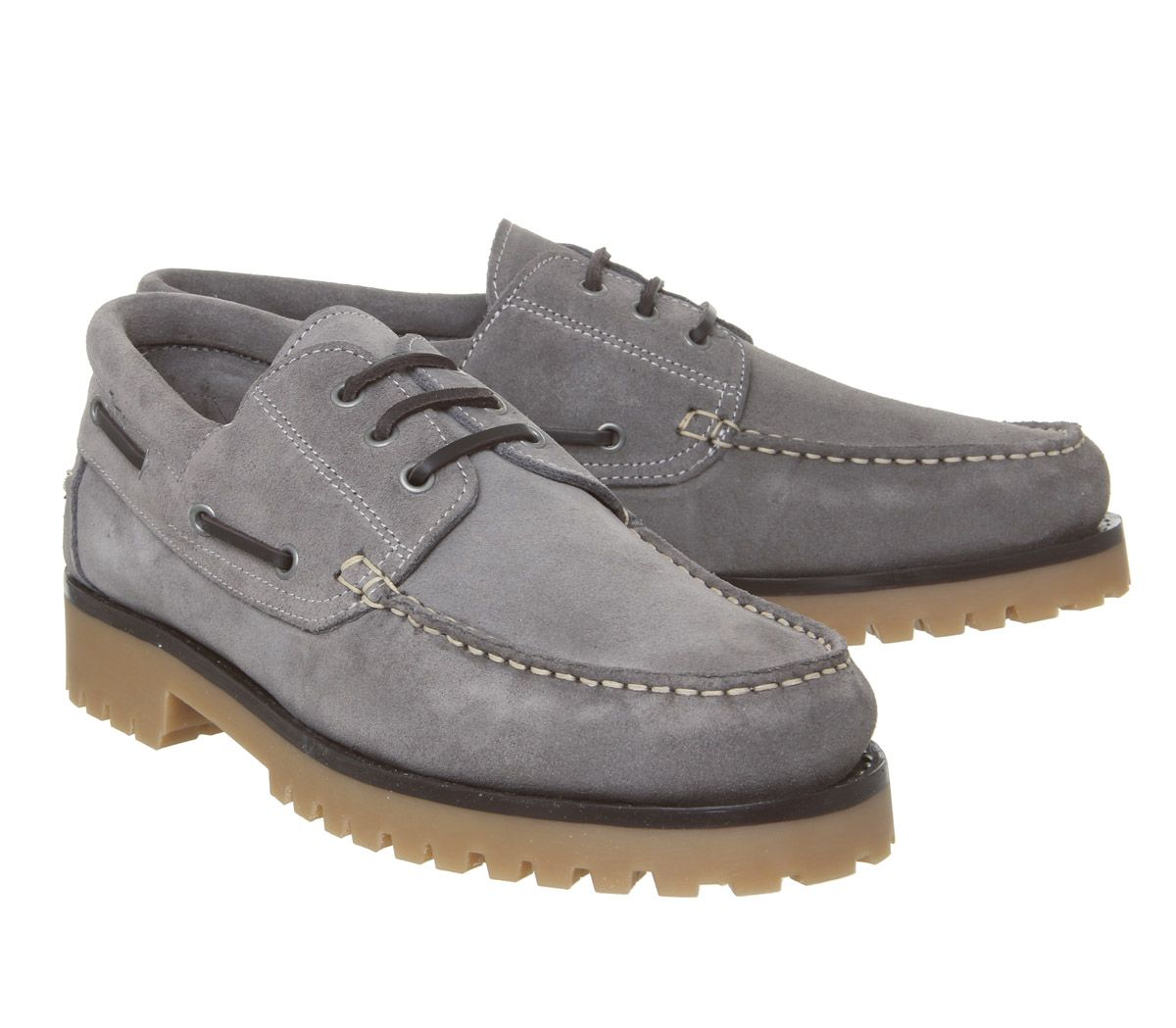 Mens-Office-Lug-Boat-Shoes-Grey-Suede-Casual-Shoes thumbnail 7