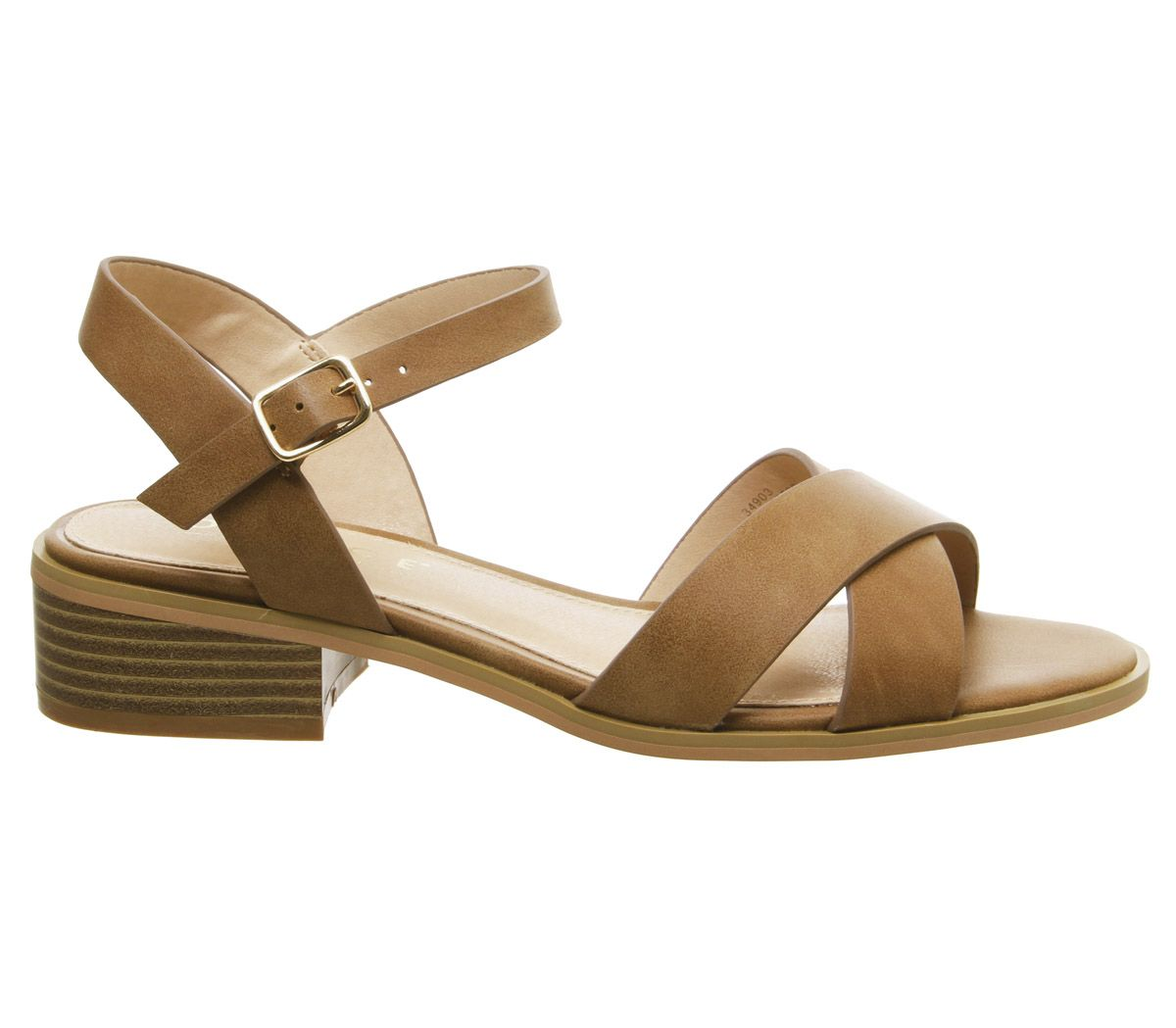 Womens Office Measure Casual Mid Sandals Tan Heels