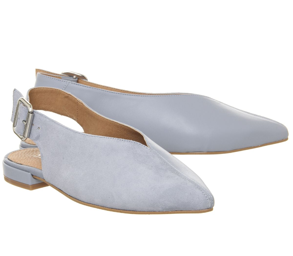 e20f7a5860b5a Details about Womens Office Flow Split Slingback Point Flats Blue Leather  With Suede Flats