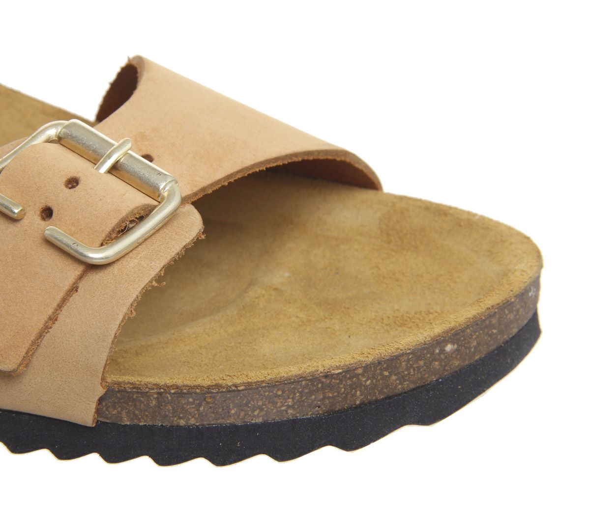Womens Office Stride Double Buckle Footbed Sandals Mustard Nubuck Sandals