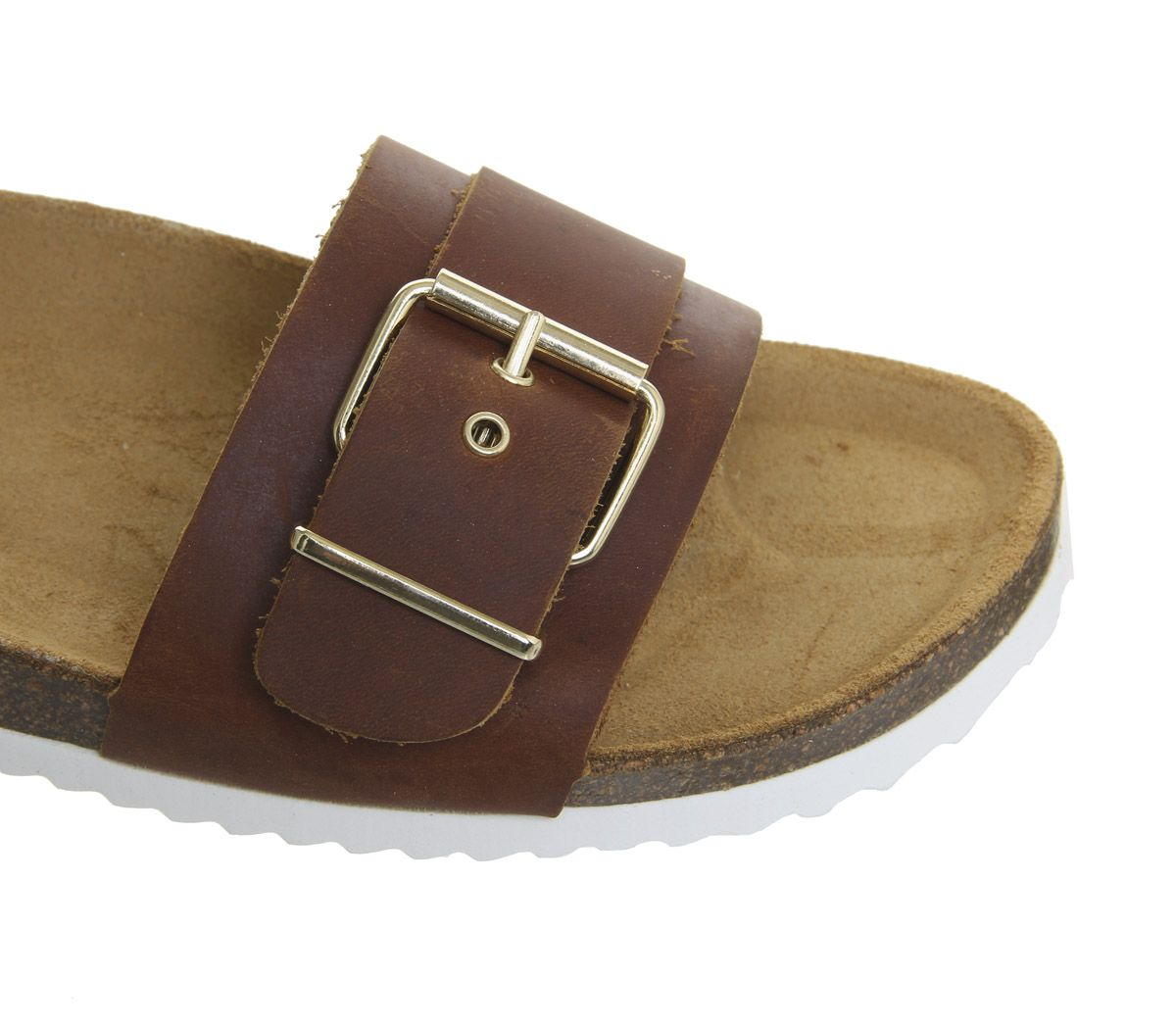 Womens-Office-Stereo-Buckle-Footbed-Sandals-Tan-Leather-Sandals thumbnail 7