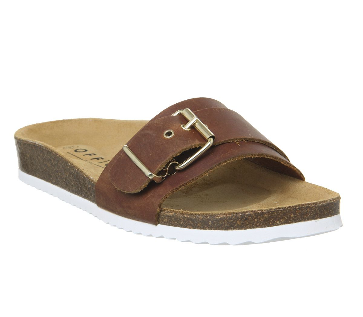 Womens-Office-Stereo-Buckle-Footbed-Sandals-Tan-Leather-Sandals thumbnail 3