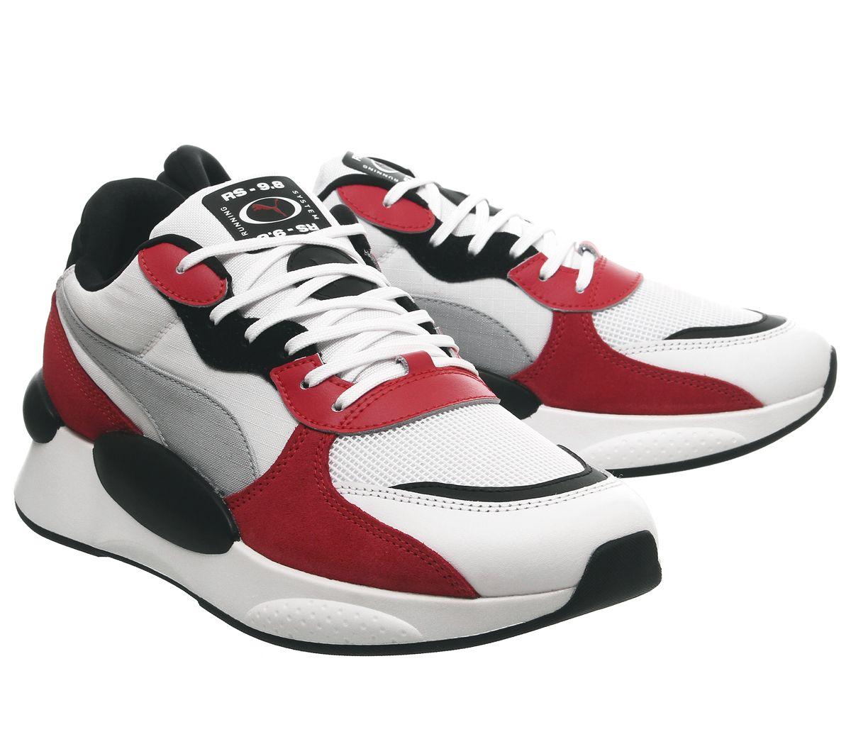 Détails sur Puma Rs 9.8 Espace Baskets puma Blanc Haut Risk Rouge Baskets