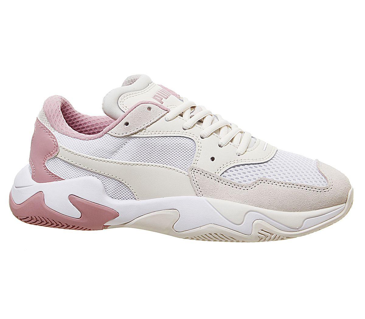 Details about Womens Puma Storm Trainers Pastel Parchment Puma White Trainers Shoes