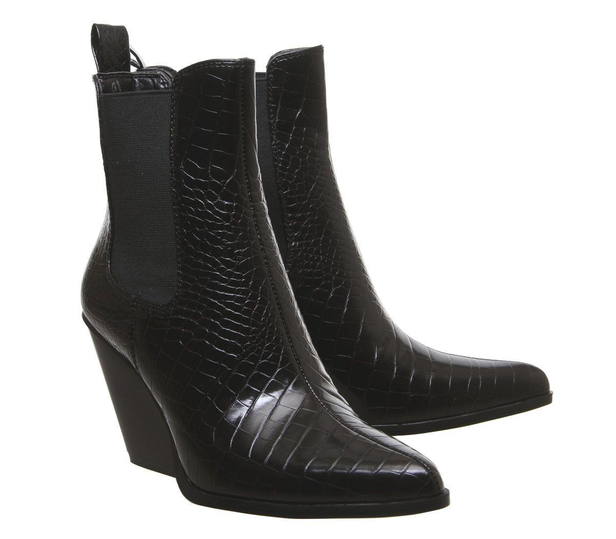 dernier style obtenir de nouveaux site réputé Détails sur Femme Ego Camille à Talon Bottines Chelsea Noir Croco boots-  afficher le titre d'origine