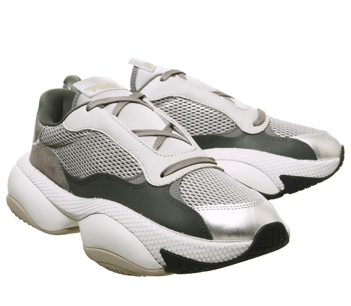 Puma-Alteration-Baskets-Puma-Silver-calcaire-Baskets-Chaussures miniature 5