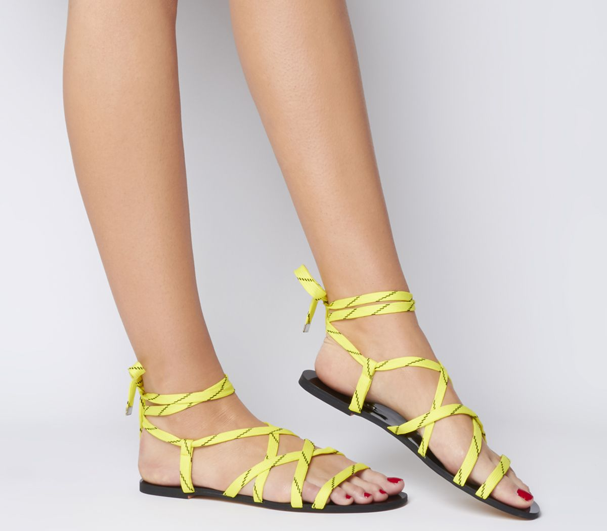 Womens Office Strobe Tie Up Cord Sandals Pink Rope Sandals