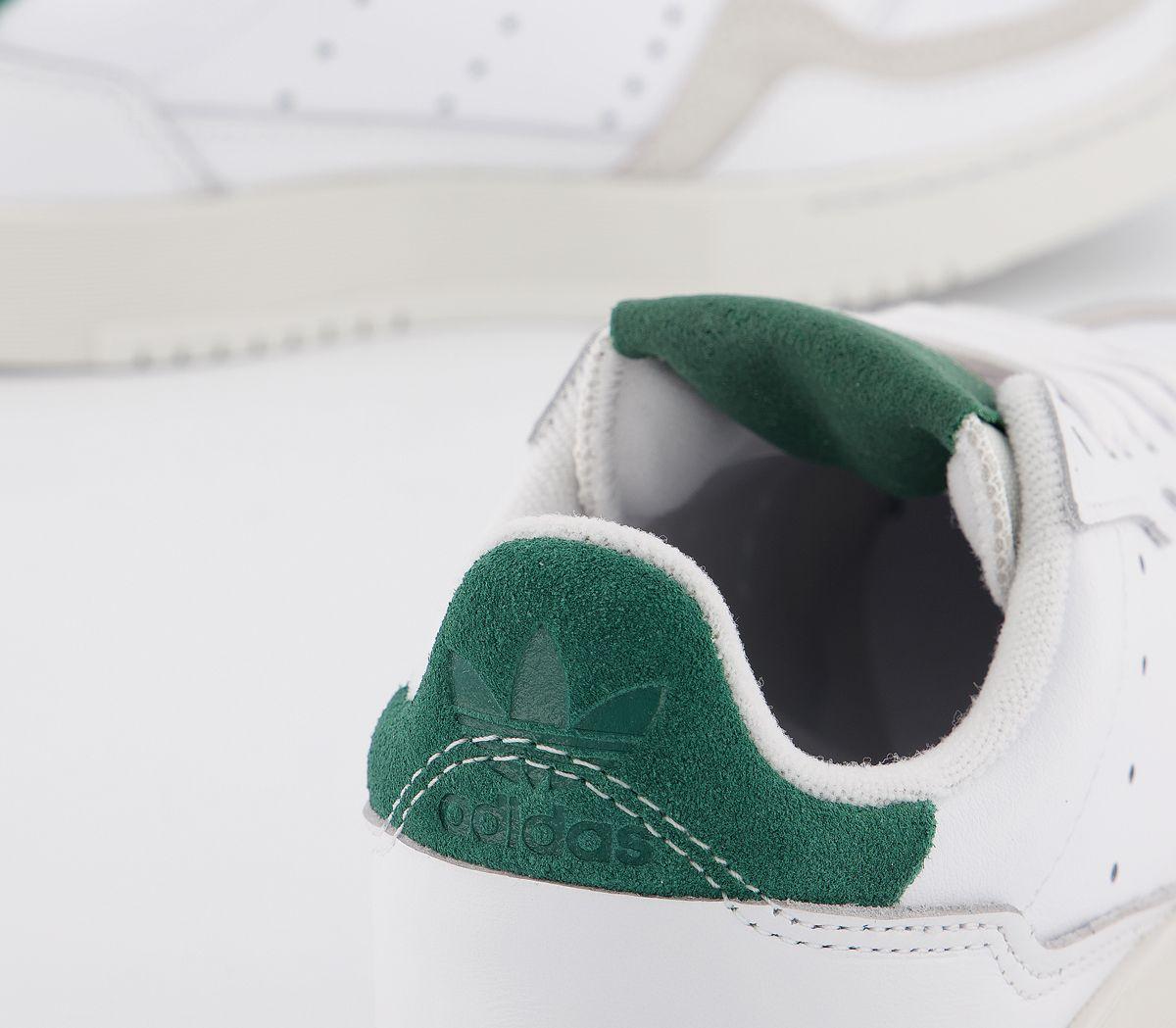 Hommes-Adidas-Supercourt-Baskets-Blanc-White-Collegiate-Vert-Baskets miniature 3
