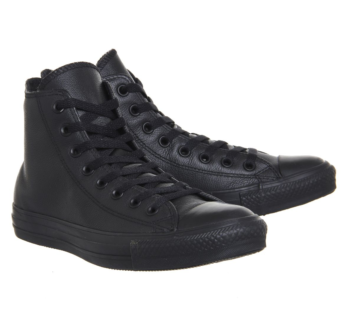 f6b2151749 Womens Converse All Star Hi Leather Flash Black Mono Trainers Shoes ...