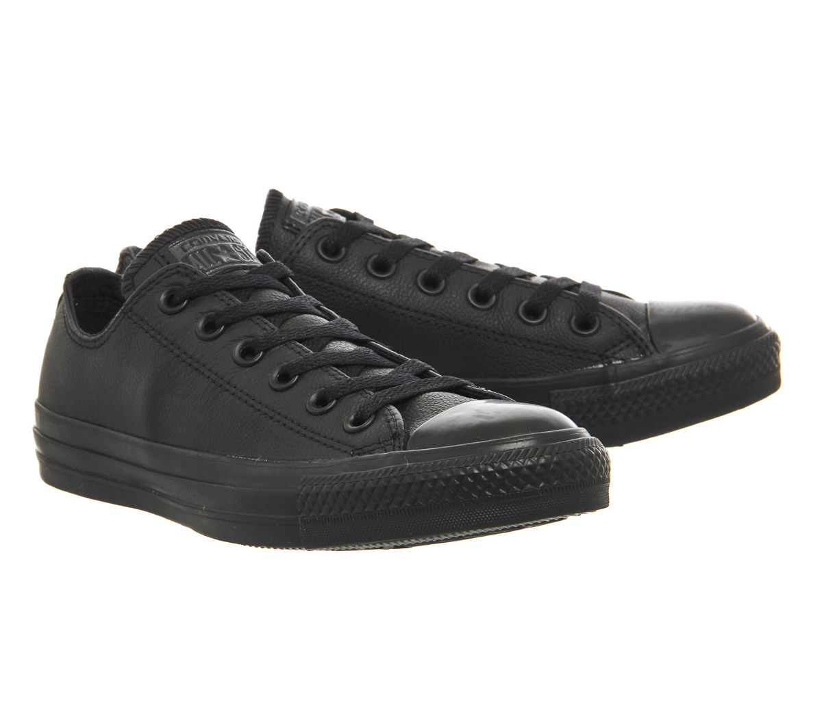 Womens-Converse-All-Star-Low-Leather-Flash-Black-Mono-Trainers-Shoes thumbnail 7