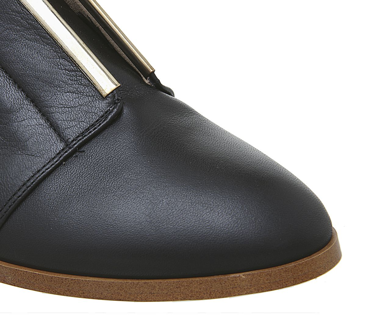 Womens Office Feather Slip On Flats Black Leather W Gold Trim Flats