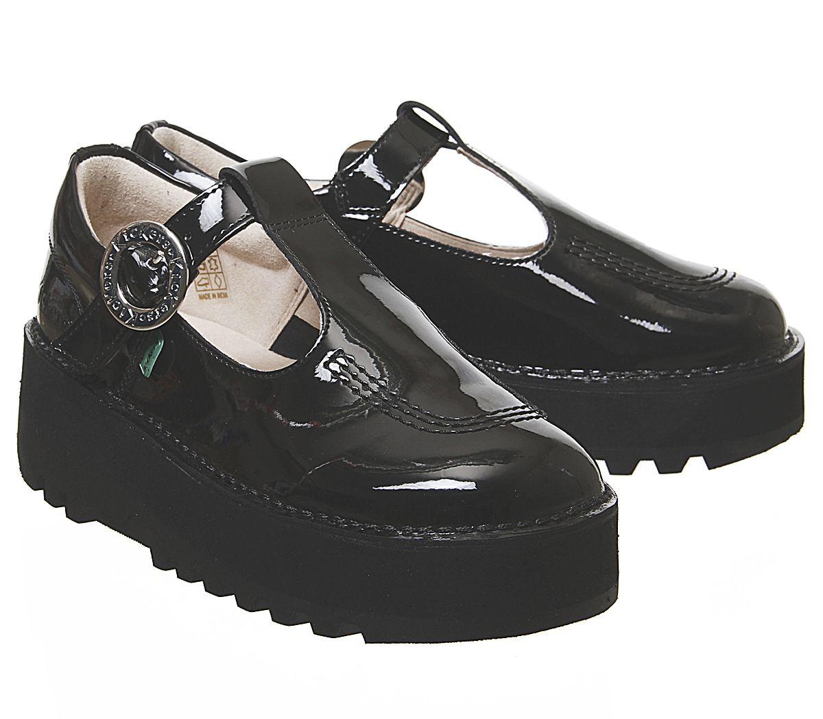Verni Plats Trixie Kickers En Détails Femmes Cuir T Chaussures Noir Sur Barre MVSpqUz