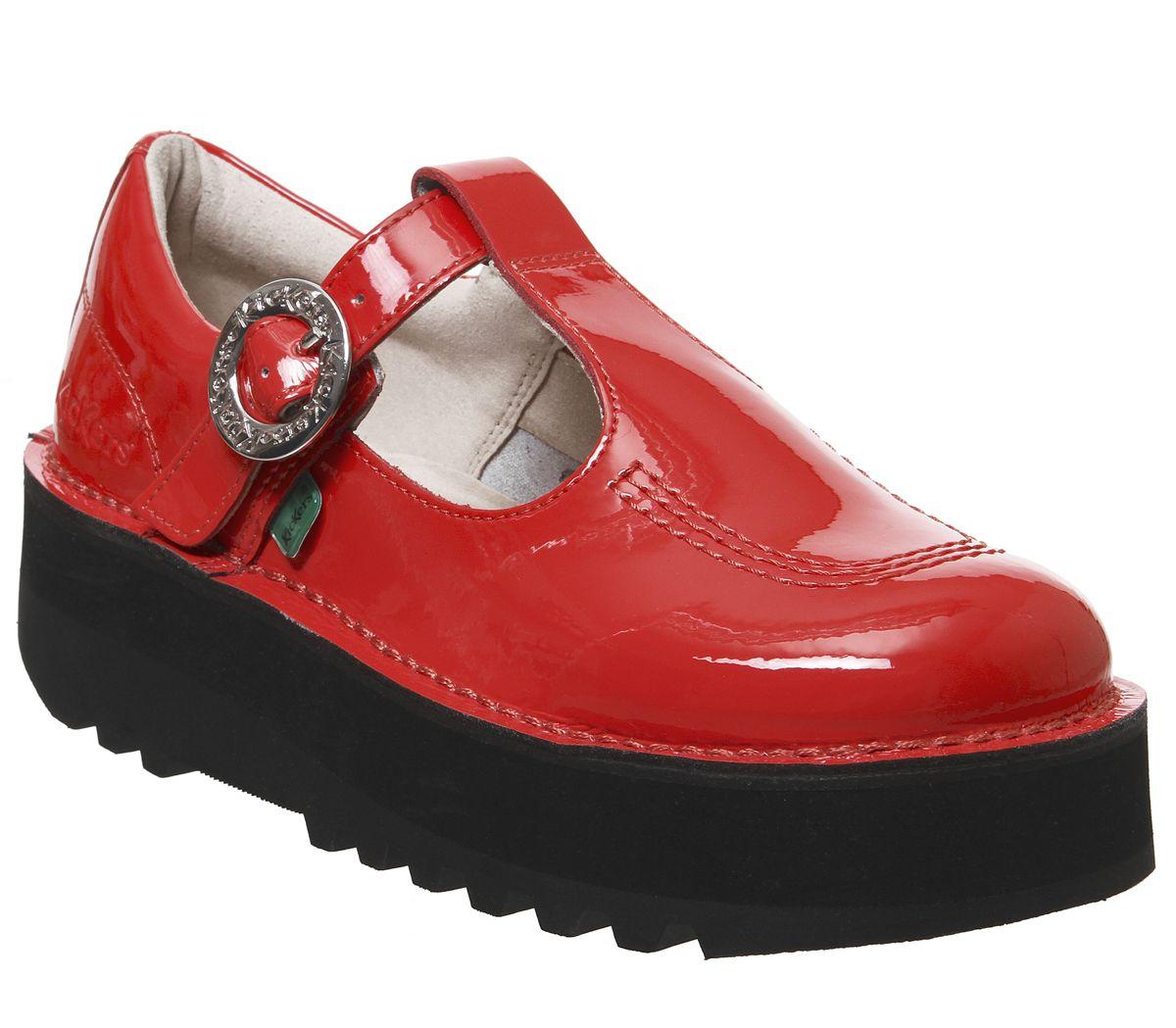 Détails sur Bottines Femme Kickers Kick Trixie Barre en T Chaussures Rouge Cuir verni Chaussures afficher le titre d'origine