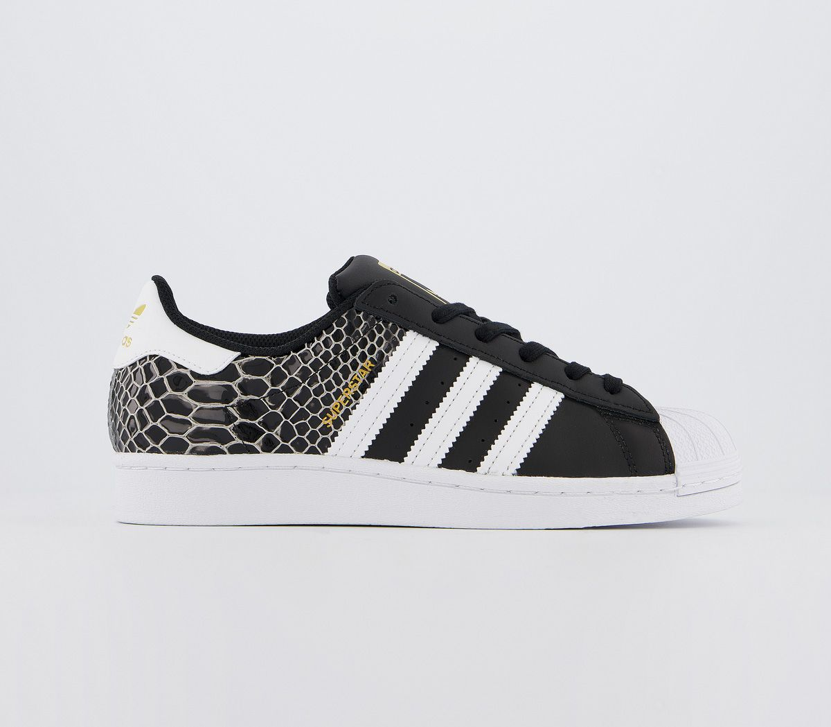 Détails sur Femmes Adidas Superstar Baskets Noir Blanc Crocodile Baskets