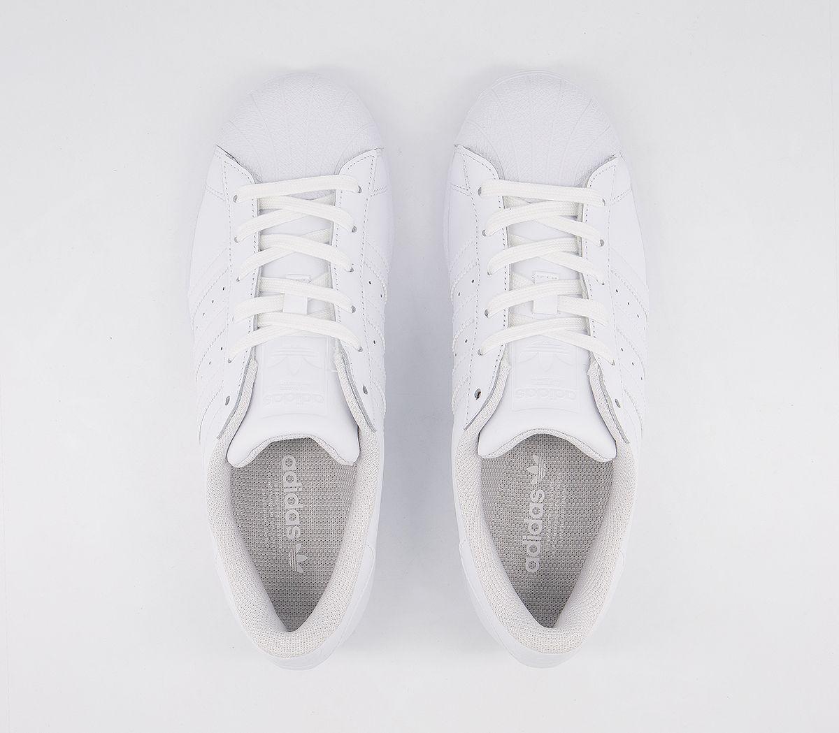 Detalles de Adidas Zapatillas Superstar Blanco Blanco Zapatillas Blancas