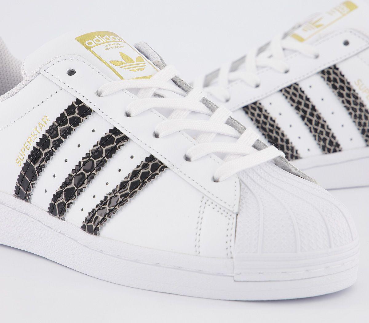 Damen adidas Superstar Turnschuhe Weiß Schwarz Gold Kroko