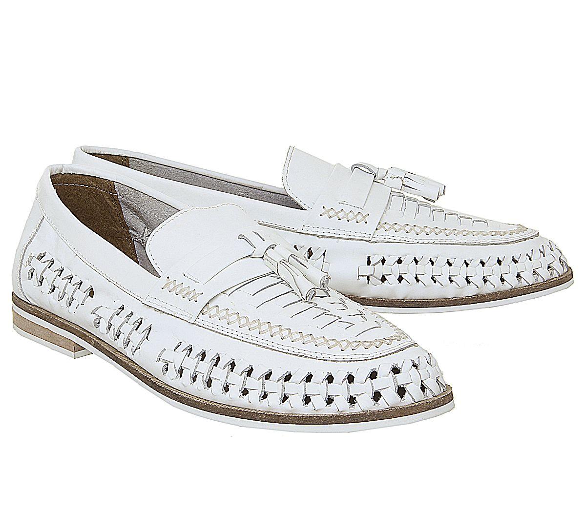 Detalles de Hombre office Camden Tejido Mocasines con Borlas Blanco Zapatos Casuales Cuero