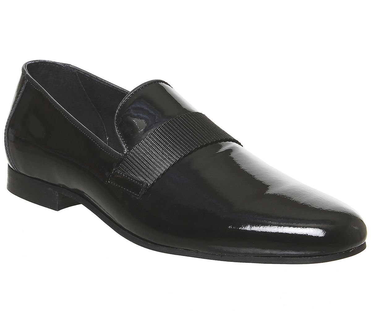 Mens Office Magpie Loafers Black Patent