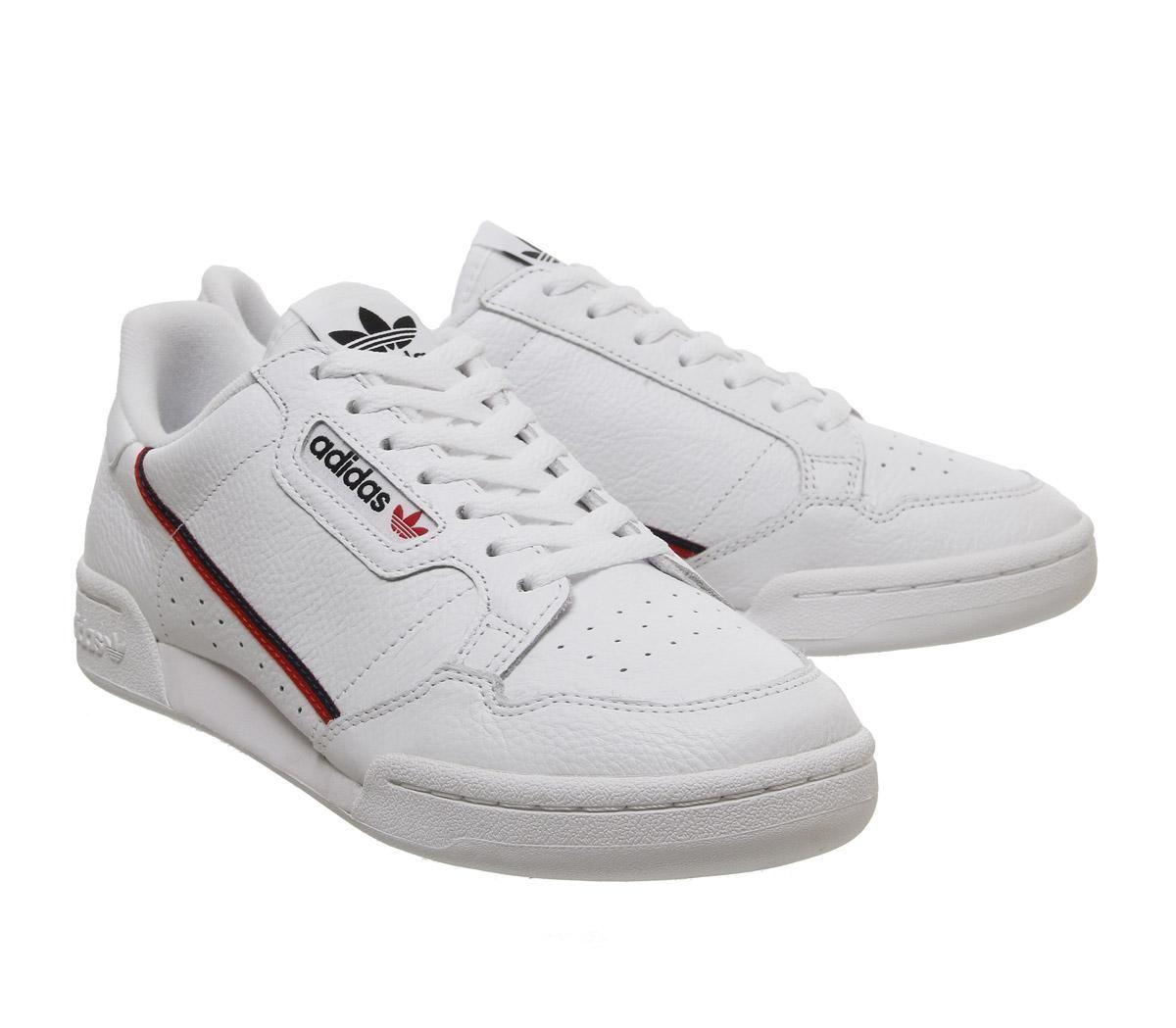 vendita online grande liquidazione i più votati più recenti Dettagli su Adidas Continental 80S Flash Scarpe da Ginnastica Bianche Rosso  Blu Navy