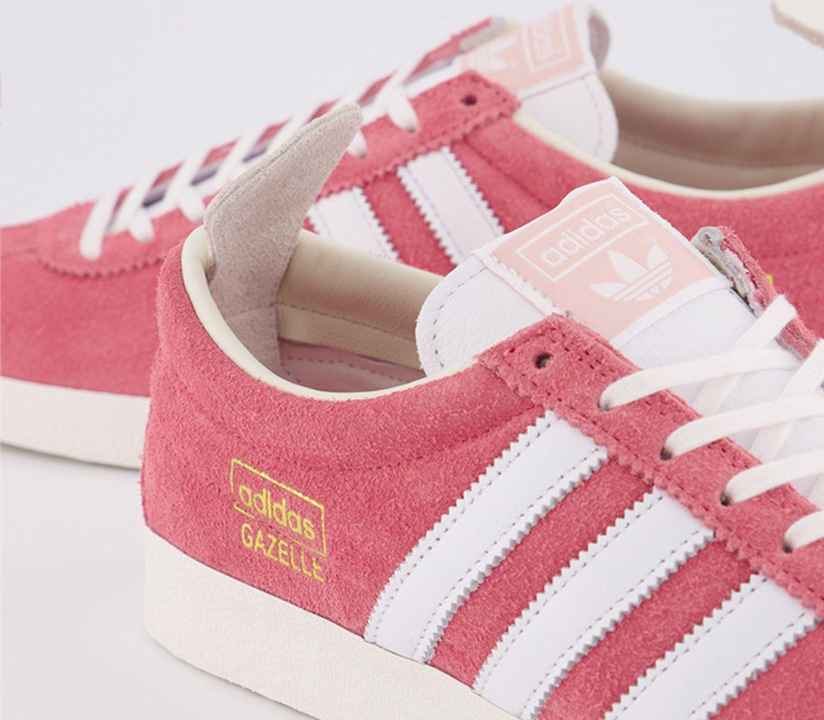 Adidas-Gazelle-Vintage-Baskets-Real-Rose-Blanc-Blanc-Baskets-Chaussures miniature 3