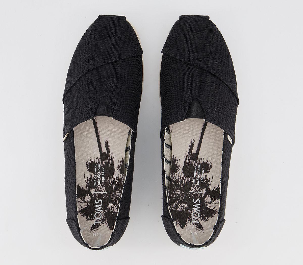 Da-Uomo-Toms-Toms-Classic-Alpargata-SLIP-ONS-BLACK-Heritage-Tela-Scarpe-Casual miniatura 5