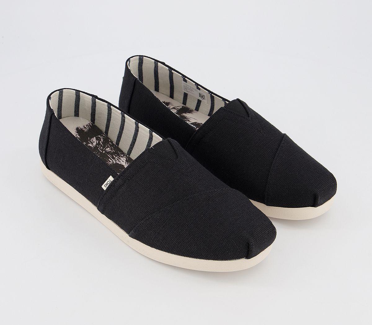 Da-Uomo-Toms-Toms-Classic-Alpargata-SLIP-ONS-BLACK-Heritage-Tela-Scarpe-Casual miniatura 7