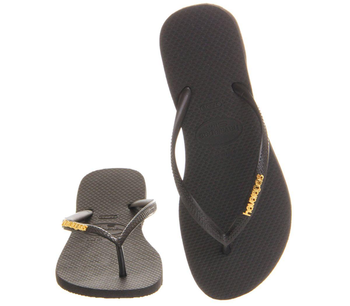 083c7cfdad44 Womens Havaianas Slim Logo Metallic Exclusive Black Gold Sandals