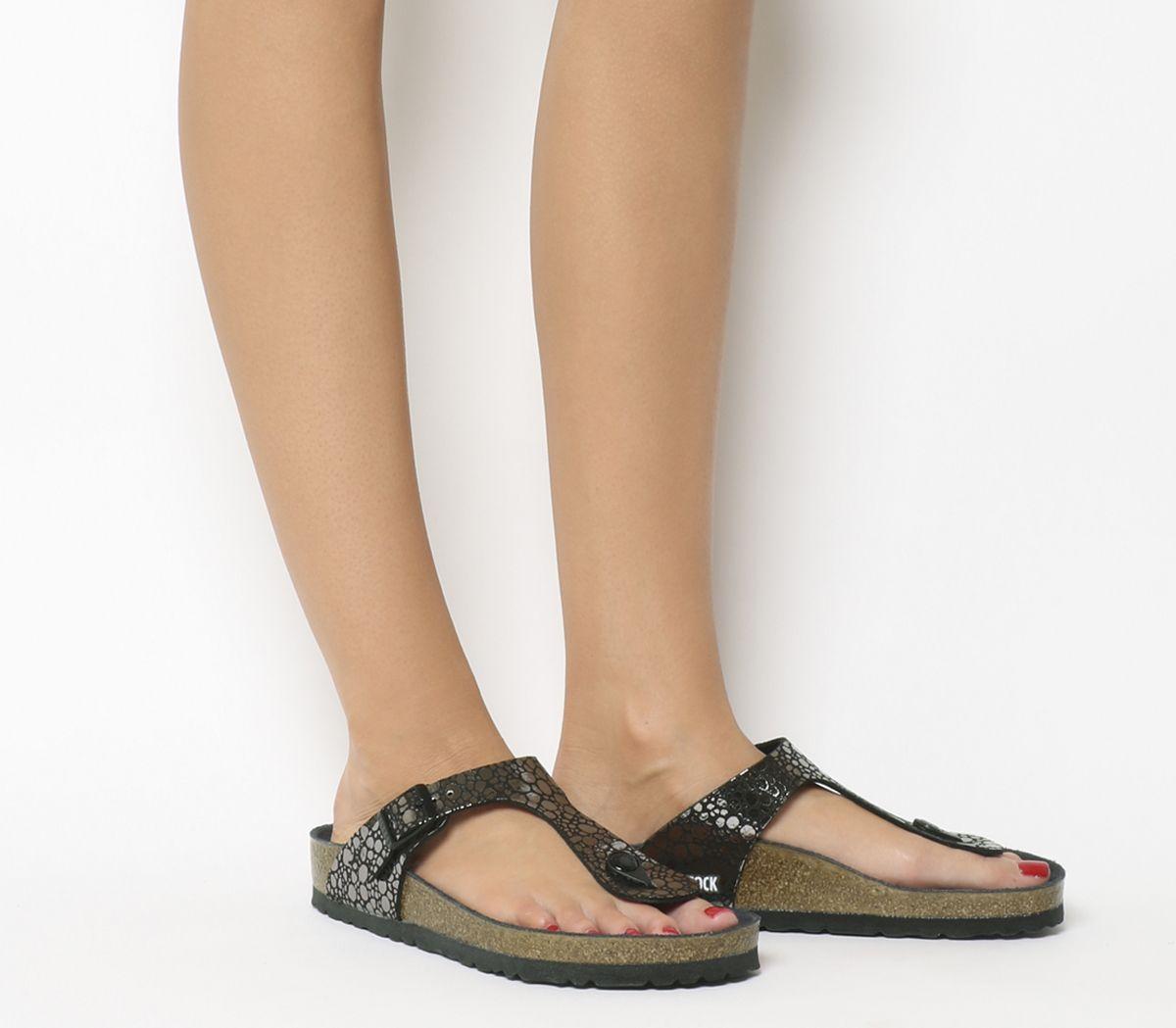 Details about Womens Birkenstock Gizeh Toe Thong Sandals Metallic Stones Black Exclusive Sanda