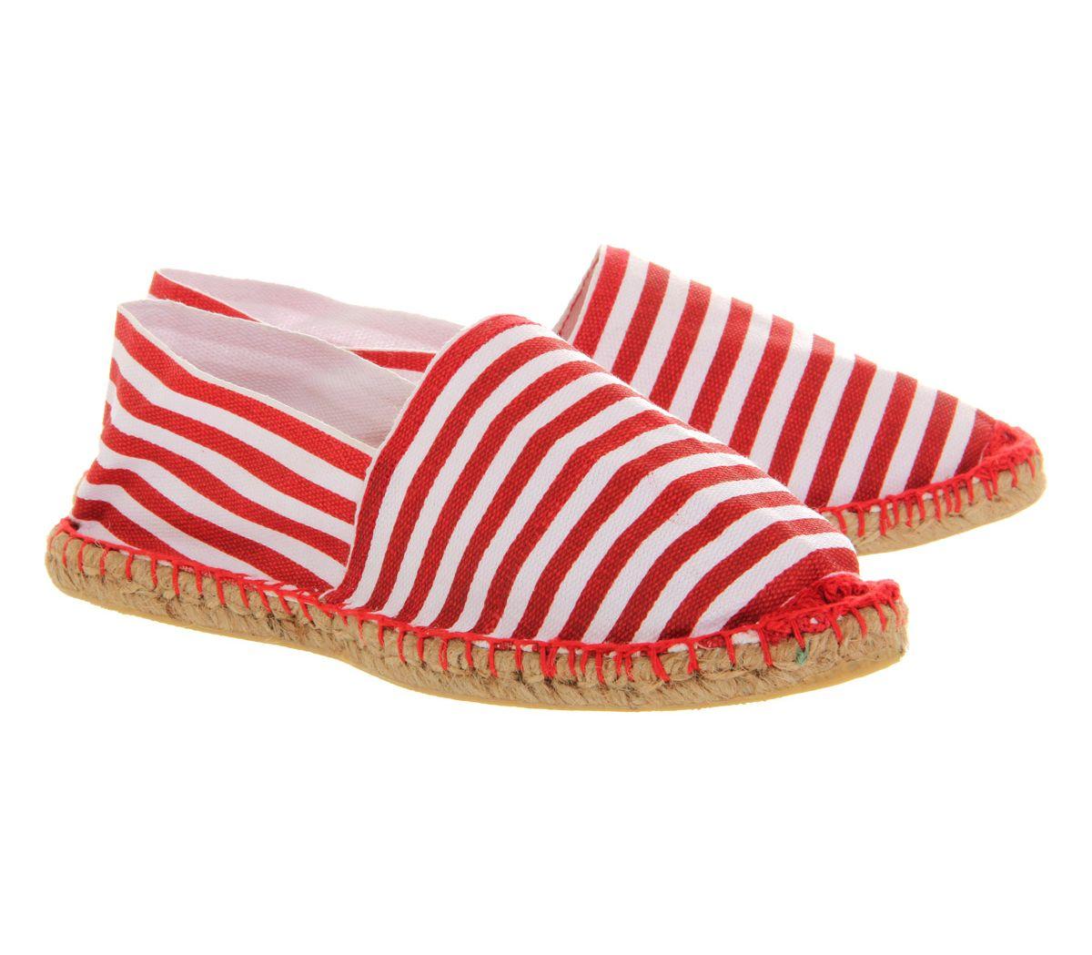 tienda oficial fábrica auténtica descuento hasta 60% Detalles de Oficina Para Hombre Cómodos Alpargatas Rojo Blanco a Rayas  Casual Zapatos- ver título original