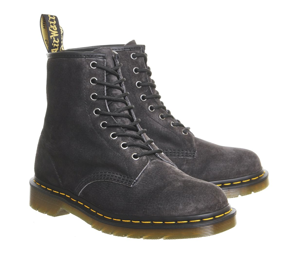560210cc794 Sentinel Mens Dr. Martens 8 Eye Lace Boots Graphite Grey Soft Buck Boots