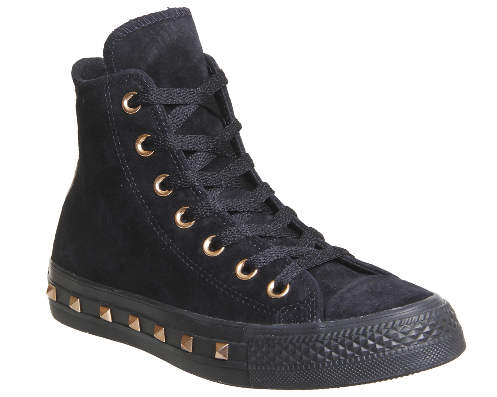 fe3a39ac237414 Sentinel Womens Converse All Star Hi Leather STUD BLACK PARTICLE BEIGE  BLUSH Trainers Sh