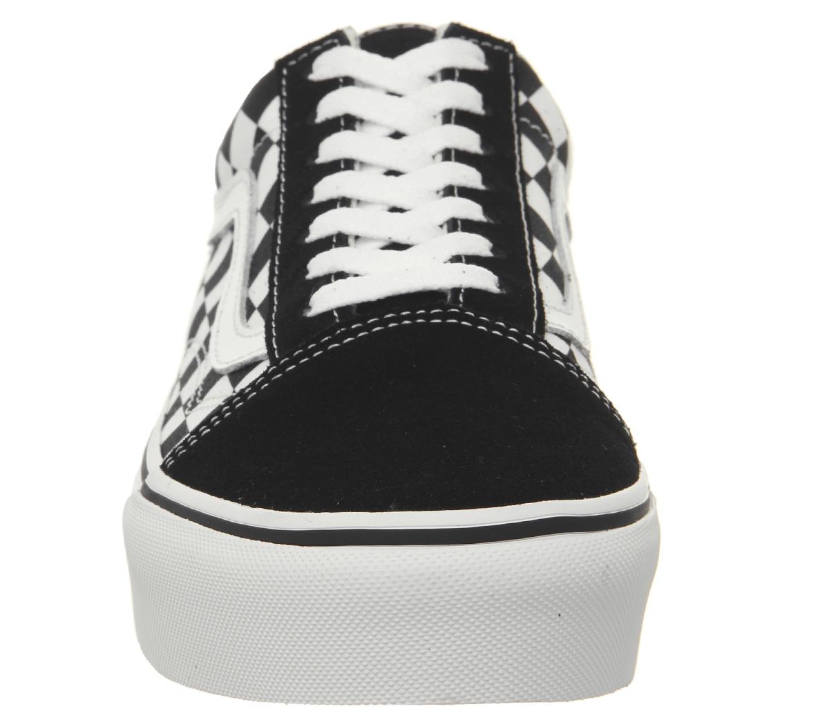 1d9afb54d8 Womens Vans Old Skool Platform Trainers Black Checkerboard True ...