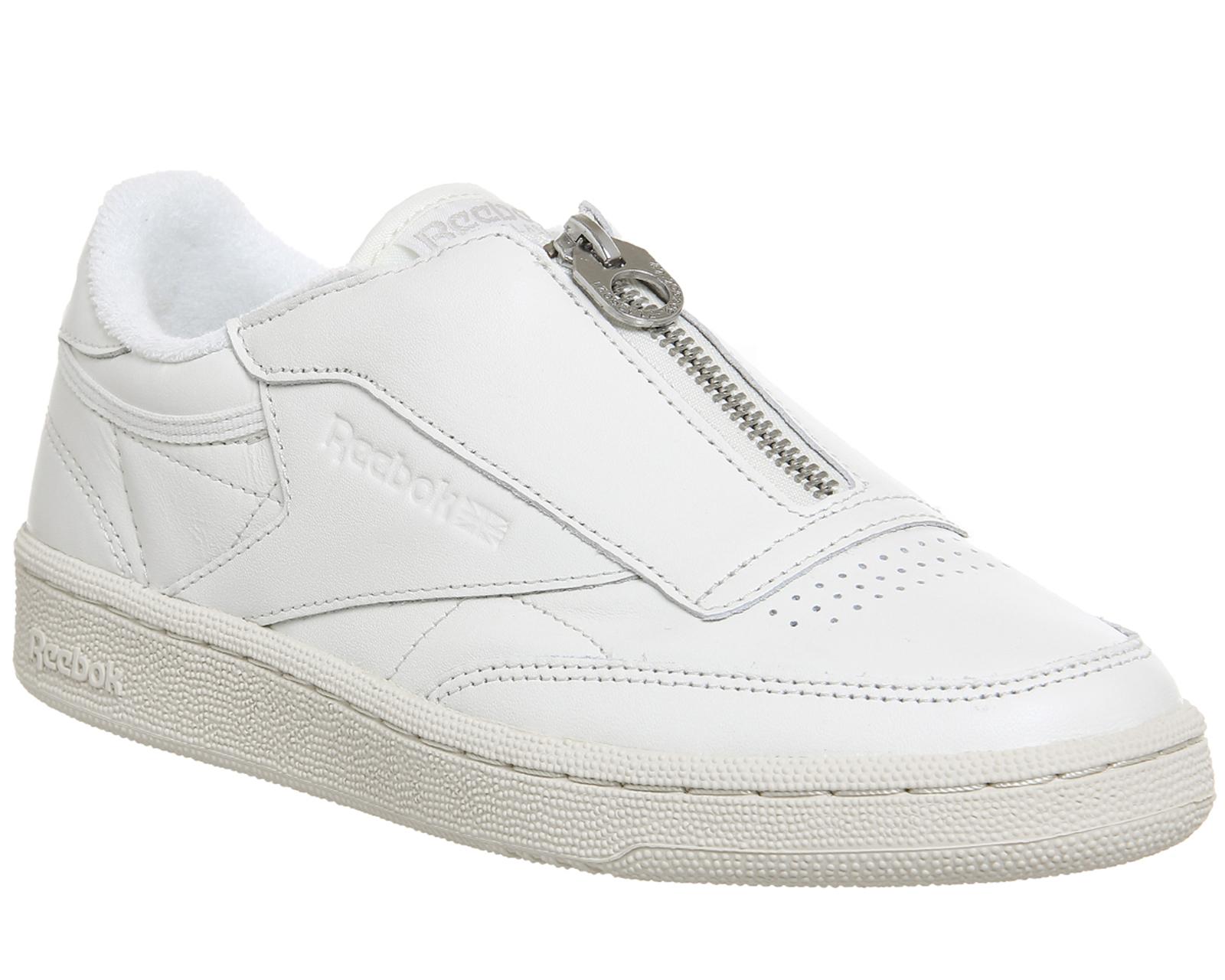 fd7ffb5502a95 Sentinel Womens Reebok Club C 85 Zip Chalk Sandstone Trainers Shoes