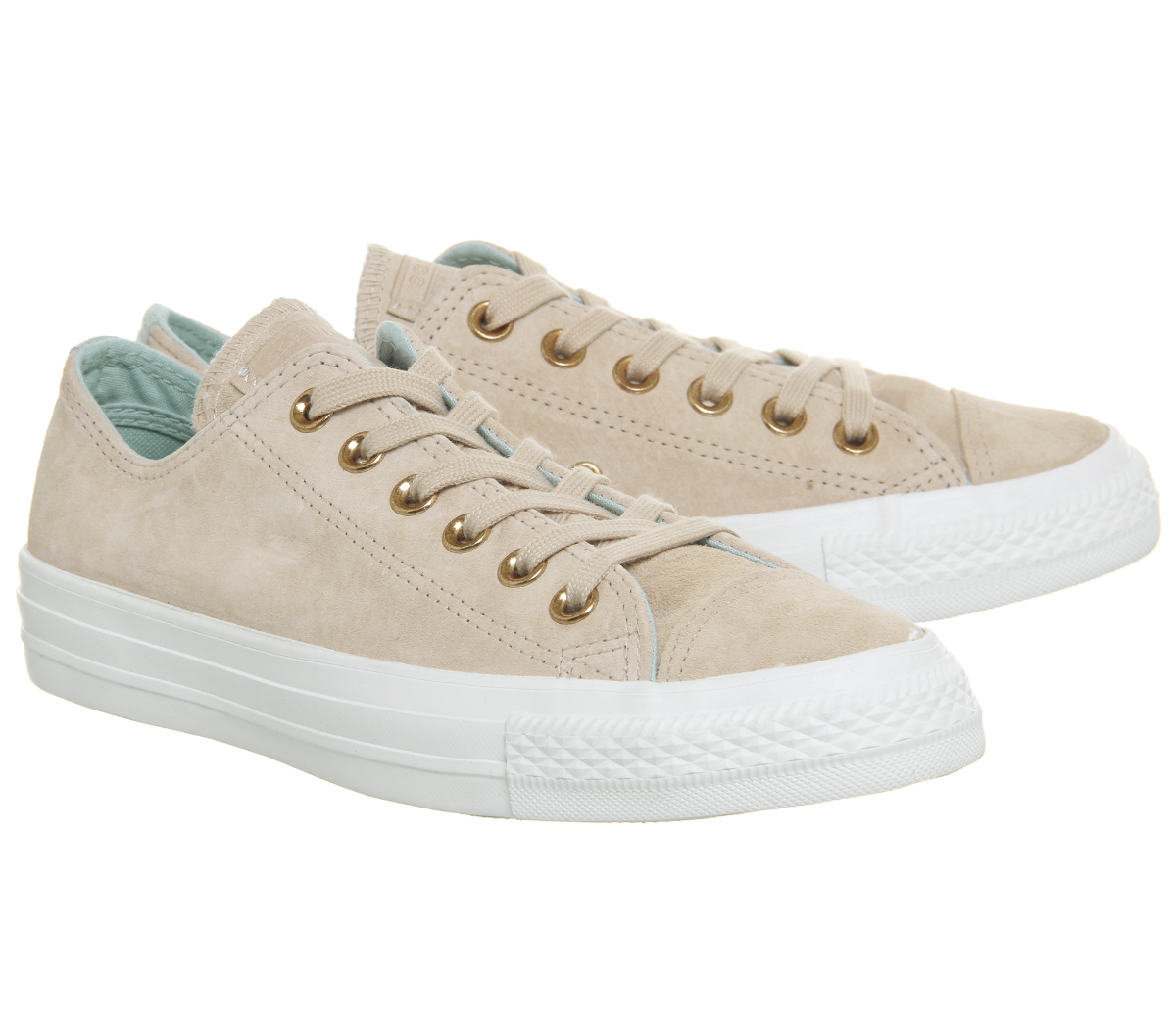 89bfe6d4a91 Womens Converse Allstar Low Leather Particle Beige Ocean Bliss White ...