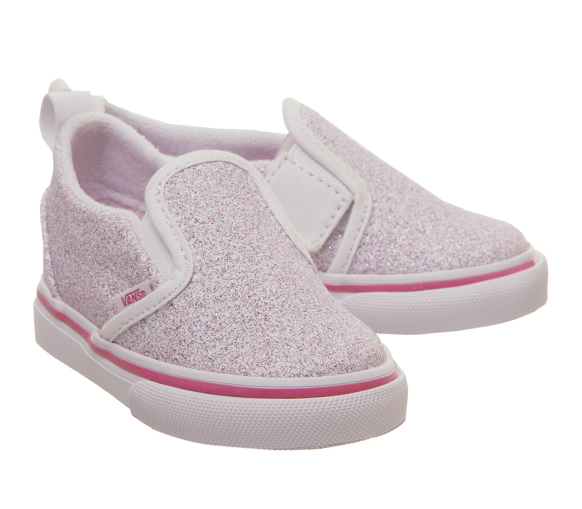 bf41d33b39cb5f Kids Vans Classic Slip On Toddlers True White Carmine Rose Glitter ...