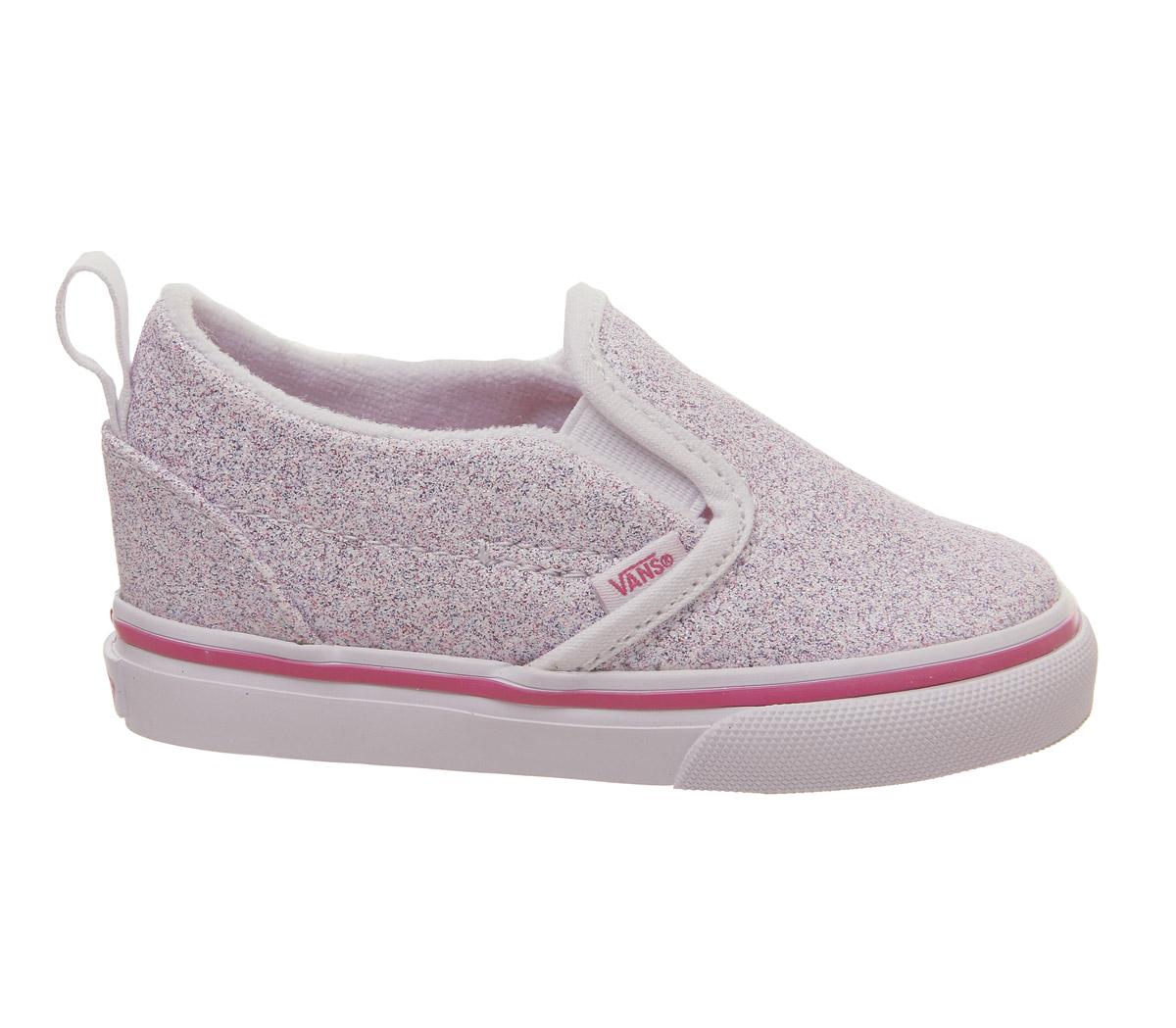 22e78b2e191 Sentinel Kids Vans Classic Slip On Toddlers True White Carmine Rose Glitter  Kids