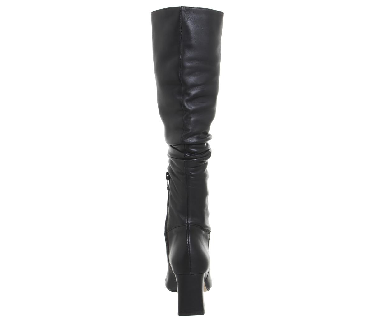 Damenschuhe Office Knee Karaboo Leder Slouch Block Knee Office Stiefel BLACK LEATHER Stiefel 061b82