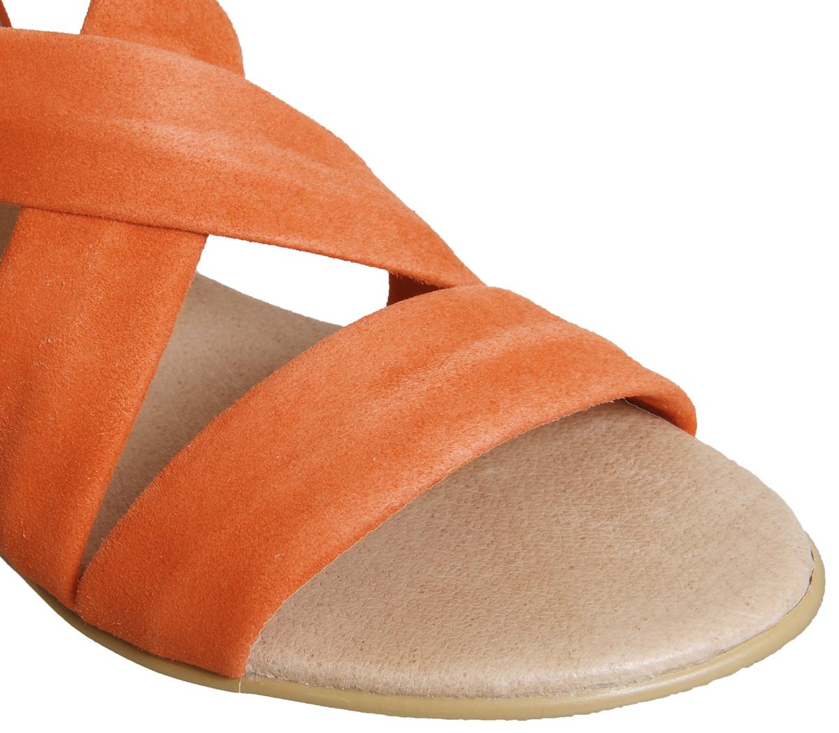 Para Mujer Oficina Hallie correa de cruz espradrilles Naranja Sandalias De Gamuza