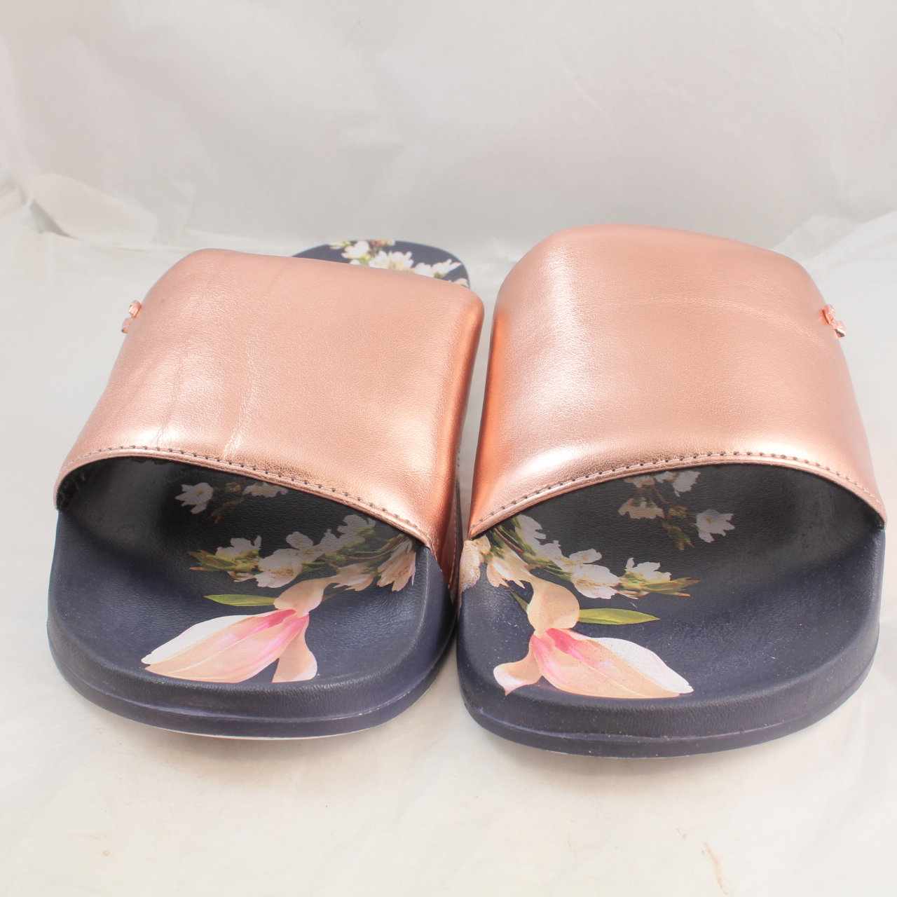 20eda9581 Sentinel Womens Ted Baker Navy Blue Synthetic Slip On Sandals Size UK 6  Ex- Display. Sentinel Thumbnail 3