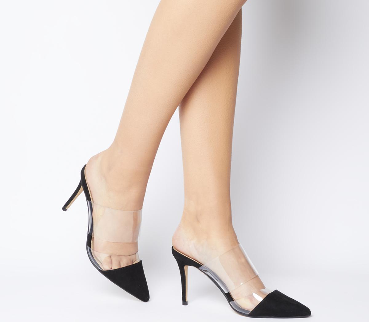 chaussure dernière sélection Braderie Détails sur Femmes office Maryn Transparent Mules Talons Noir Talons