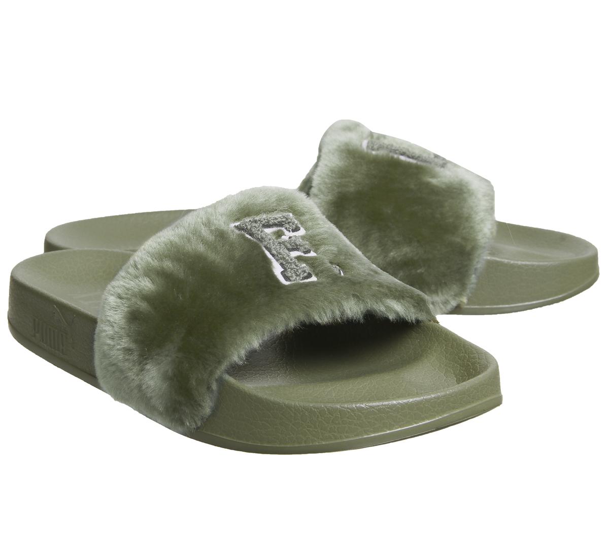 f9690a34cee73 Sentinel Womens Puma Fenty Leadcat Sliders FU GREEN Trainers Shoes