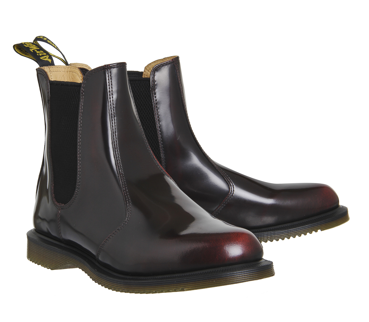 78d972a3cd2f4 Womens Dr. Martens Kensington Flora Boots Burgundy Leather Boots | eBay
