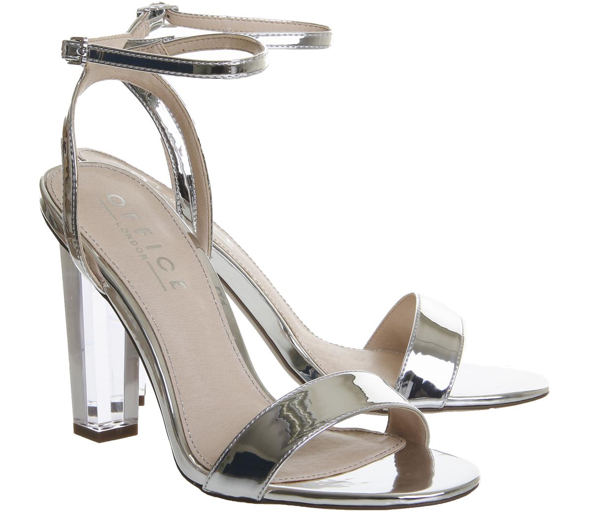 b8e2215f143 Sentinel Womens Office Hover Transparent Heel Sandals Silver Mirror Heels