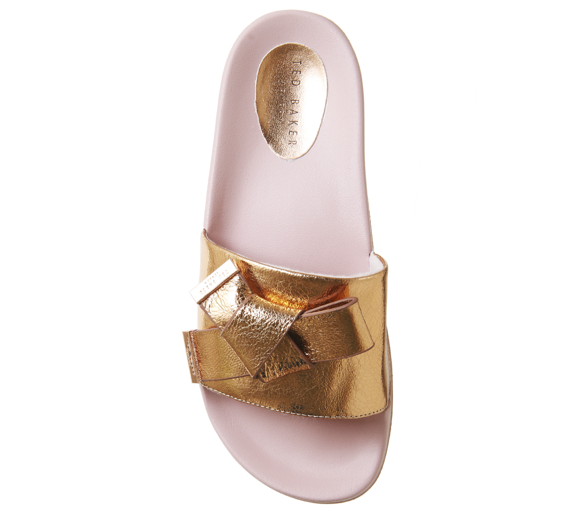1a5c00a42a1f Womens Ted Baker Melvah Bow Slides ROSE GOLD LEATHER Sandals