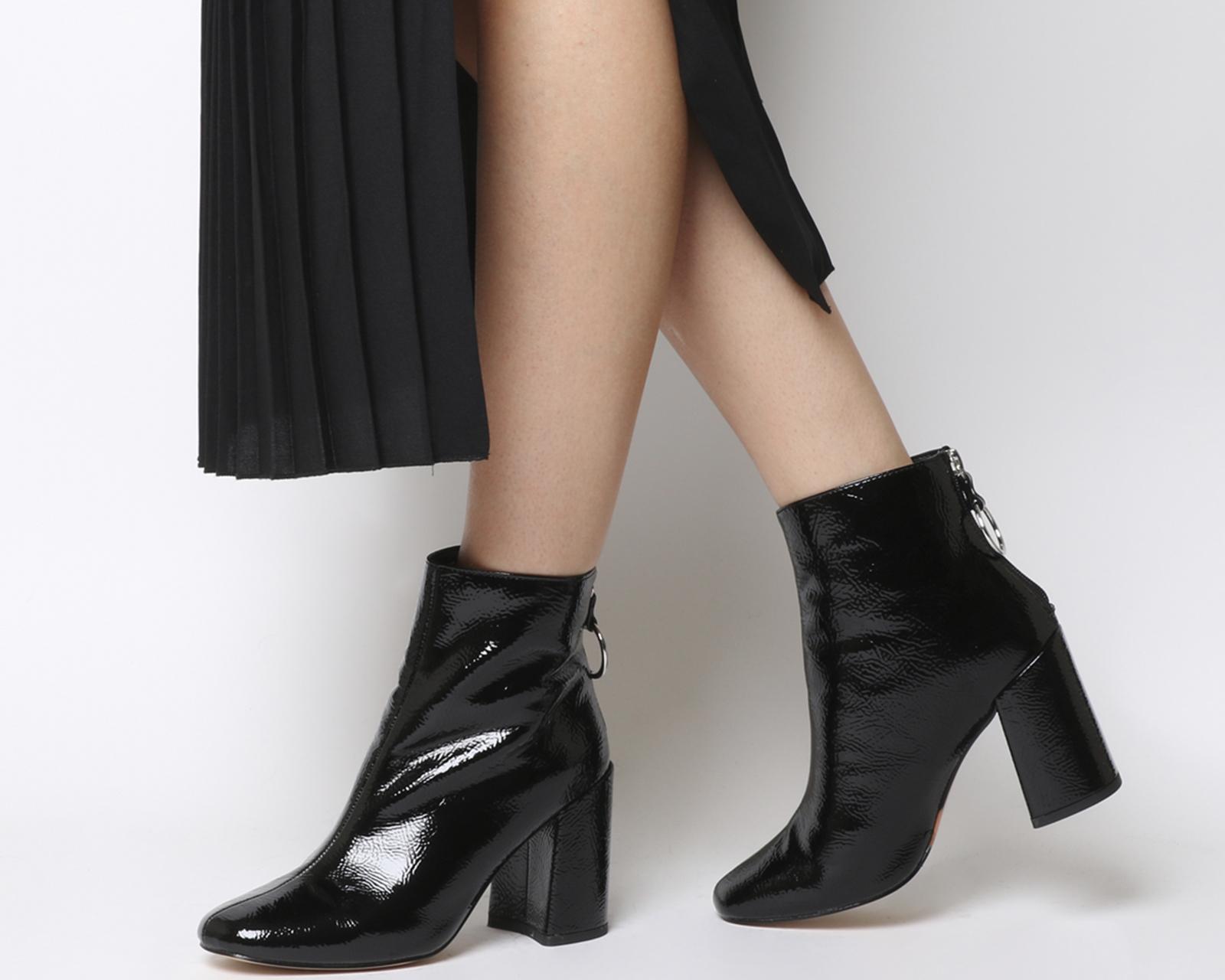 86bfad013 CENTINELA Las mujeres oficina argón bloque talón detrás el cierre relámpago  botas de negro patente