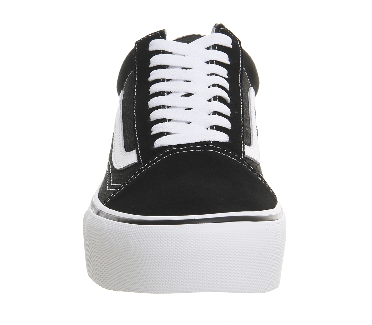 Details about Womens Vans Old Skool Platform Black White Trainers Shoes