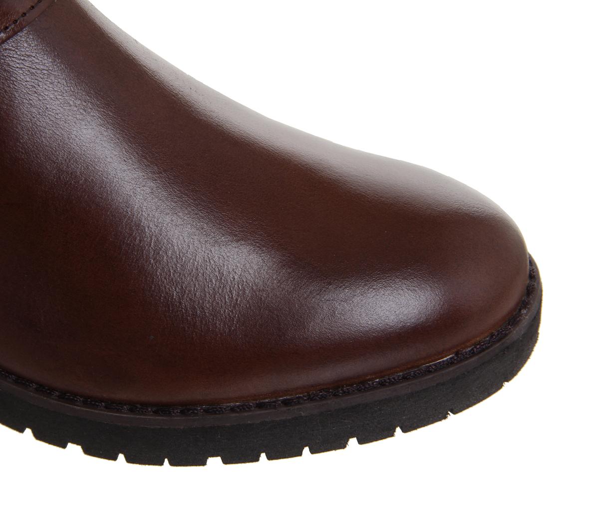 Mujer botas De Piel Casual botas de oficina Keller Marrón Cuero botas Casual a la rodilla f2ef1c